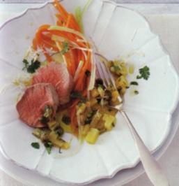 Pochiertes Kalbfleisch mit Kartoffel - Kapern - Dressing - Rezept