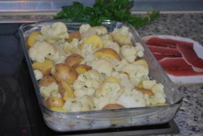 Käse-Kartoffeln mit Blumenkohl - Rezept