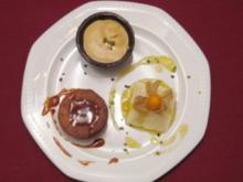 Nussnougat-Törtchen, Orangenmousse und Karamelleis - Rezept