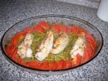 Hähnchenbrust mit Tomate auf Bohnen - Rezept