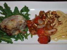 Gratiniertes Huftsteak auf Rucolabett mit geschmorten Gorgonzola-Tomaten - Rezept