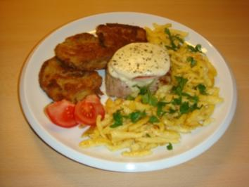 Schweinefilet mit Tomate Mozzarella und panierte Austernpilze - Rezept