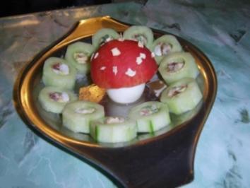 Sushi-Gurken mit Fliegenpilz - Rezept