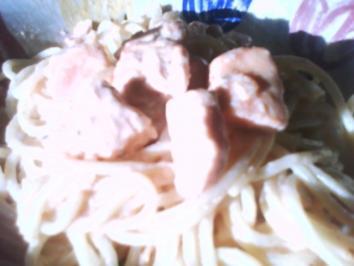 Beschwipster Lachs auf Pasta - Rezept