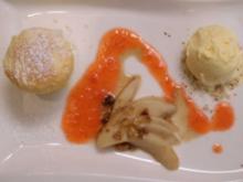 Ziegenkäsesoufflee mit Rosmarineis, karamellisierten Birnen - Rezept