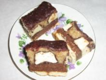 Buterkeks Ecken mit Zuckerschaum Bananen - Rezept