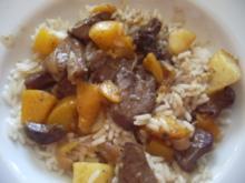 Leber mit Apfel und Pfirsisch - Rezept