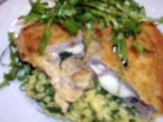 Gefülltes Kalbssteak mit Mozzarella und Basilikum auf Rucolarisotto - Rezept