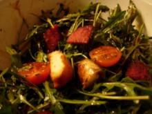 Italienischer Brotsalat (Rucola, Salami, Tomaten und Brot) - Rezept