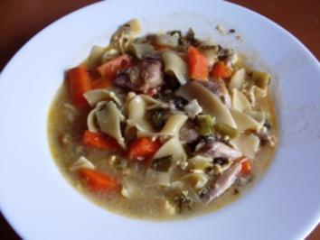 Suppe~Brühnudeln mit Hühnerfleisch - Rezept