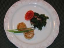 Jacobsmuscheln an Blattspinat - Rezept
