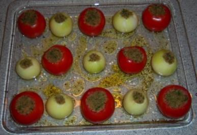 "Tomaten + Zwiebeln ""al forno"" - Rezept"