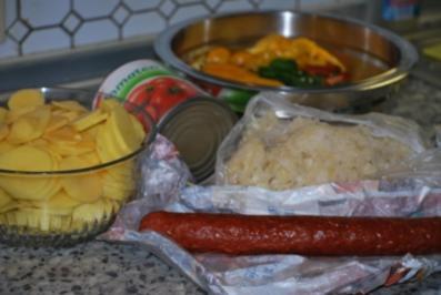 Kartoffelgoulasch mit Cabanossi - Rezept