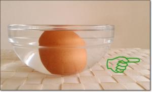 Ein Tipp, um das rohe Ei zu überprüfen, ob es noch frisch ist. - Tip