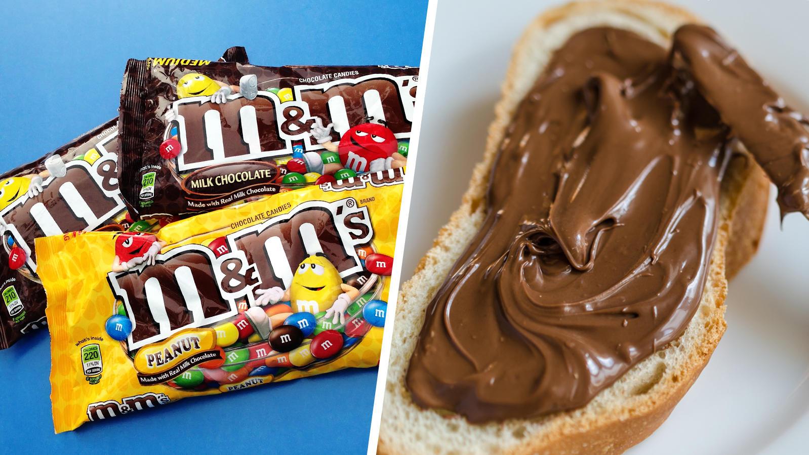 Links M&M's Packungen, rechts ein Brot mit Haselnusscreme