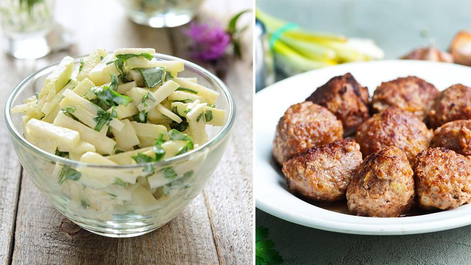 Kohlrabi mit Salzkartoffeln und Frikadellen