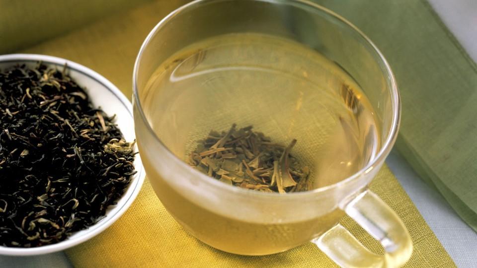 Grüner Darjeeling Tee in Glastasse & Blätter im Schälchen (3)