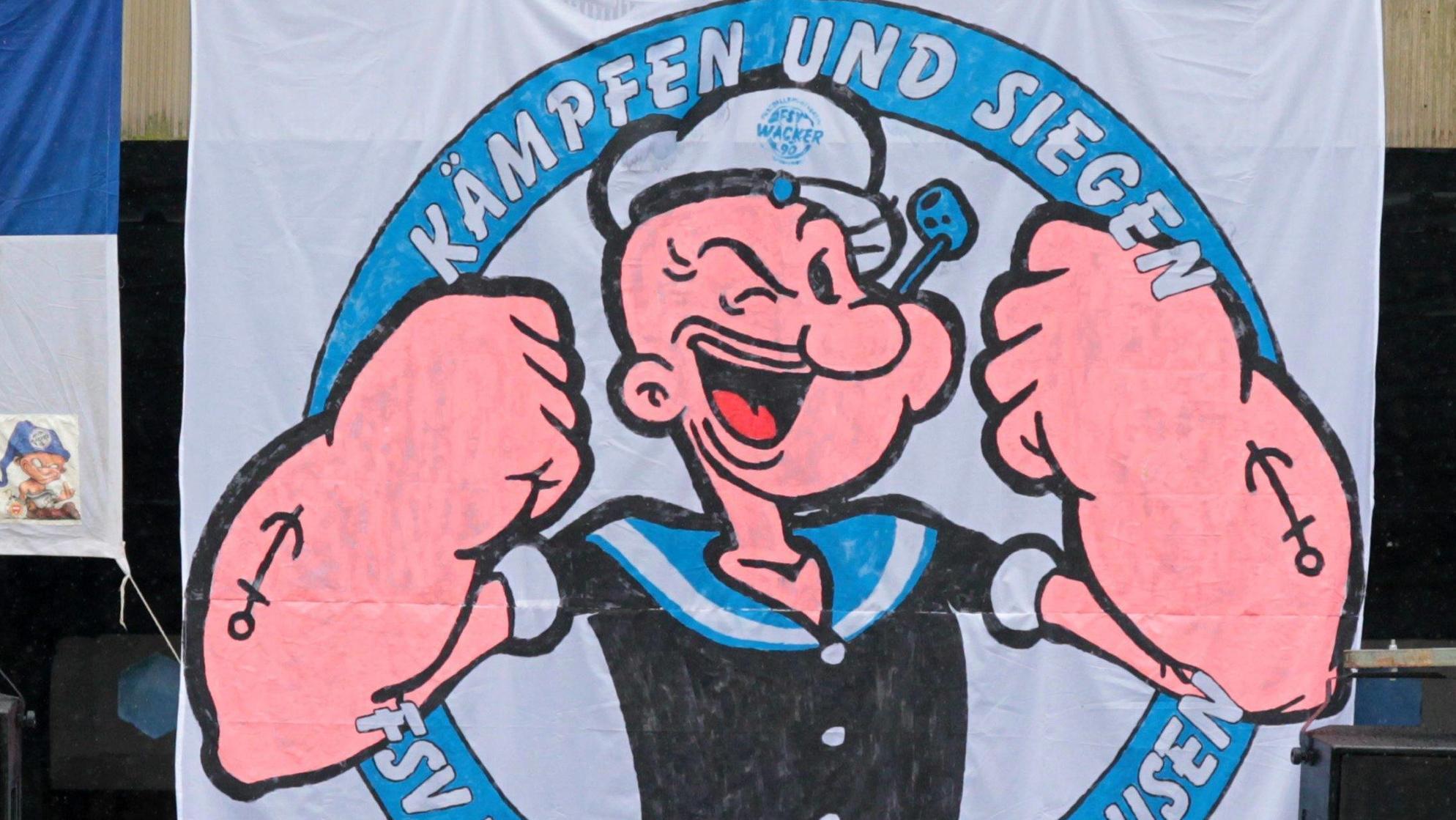 Popeye-Plakat: Fußball-Fans wissen, was in Spinat steckt