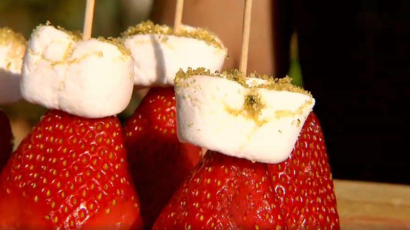 Minzzucker-Marshmallow-Erdbeer-Spieße