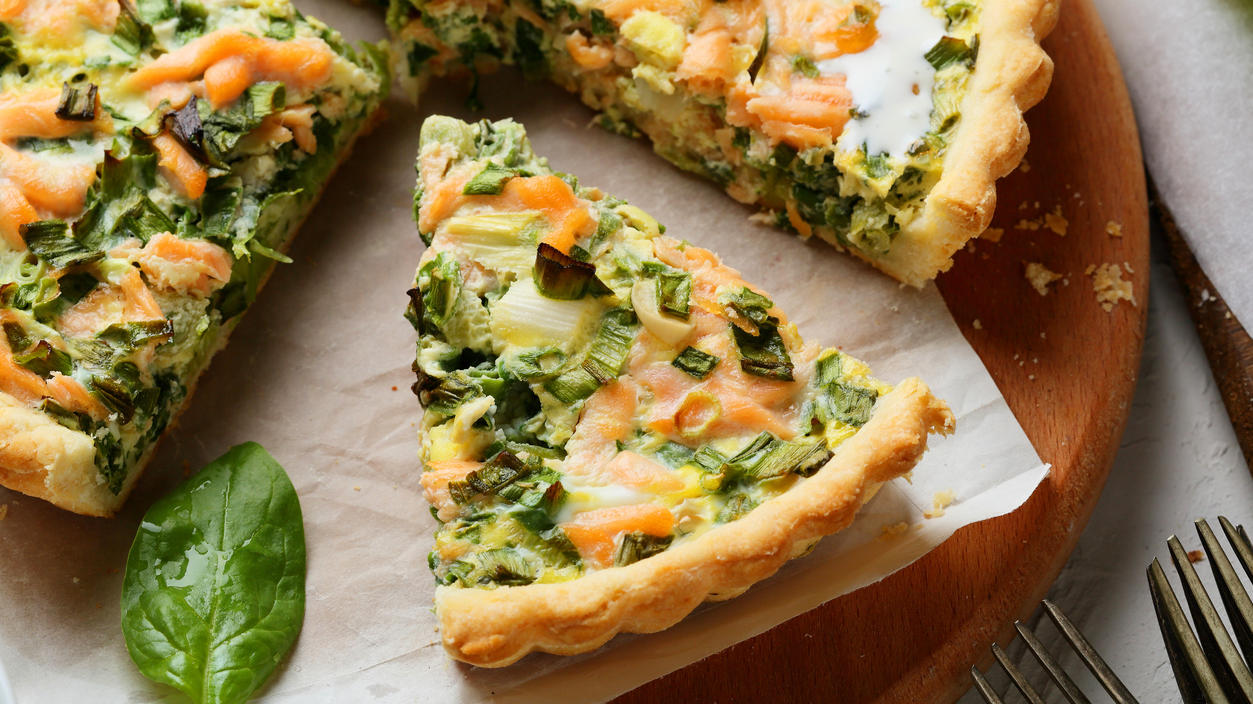 rustic salmon quiche with spinach, food