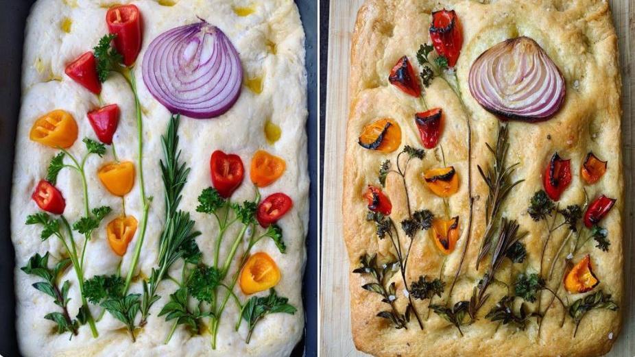 Ofenbrot mit Gemüse wird zur leckeren Blumenwiese.