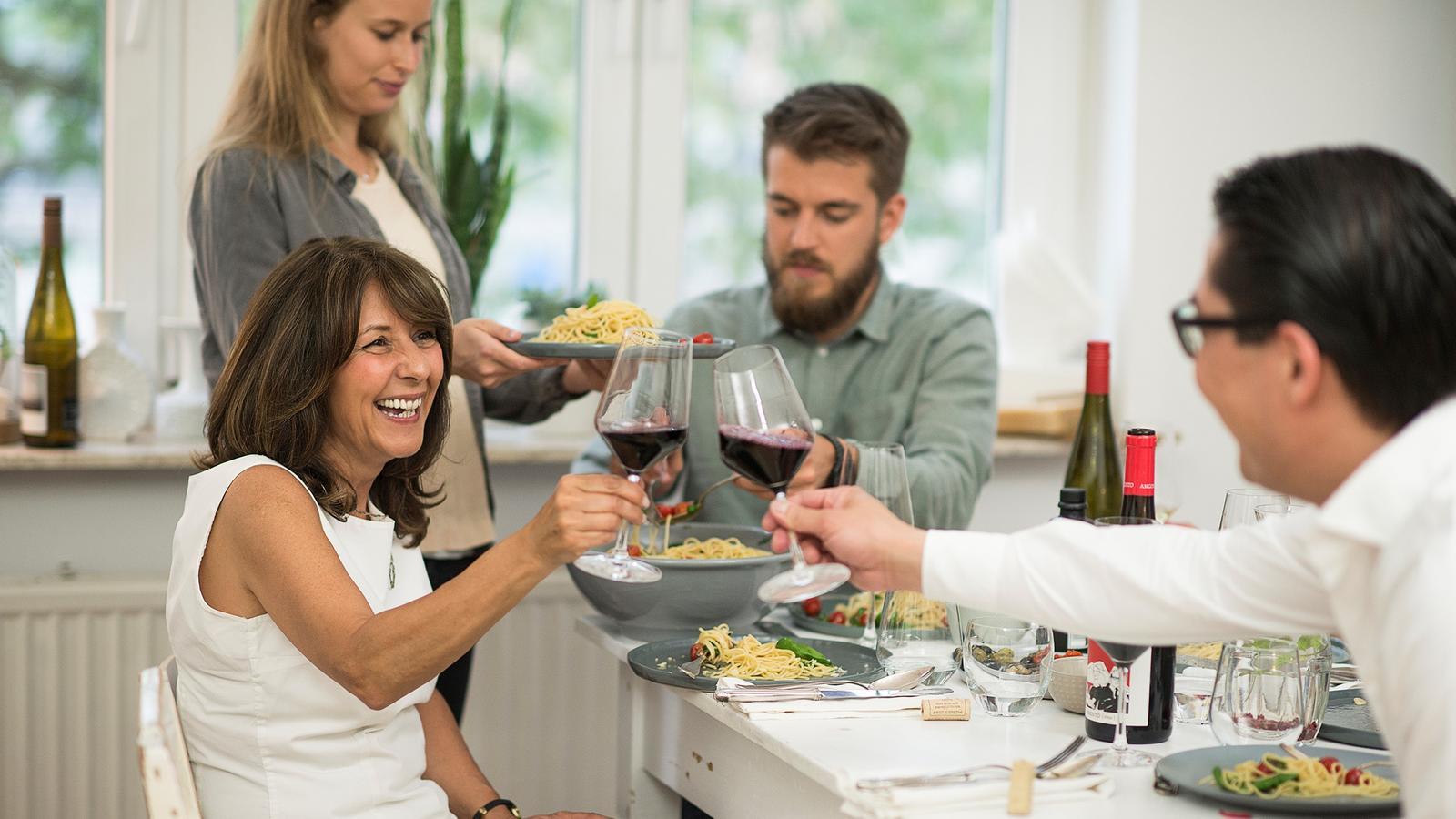 Guten Wein mit der Familie genießen....