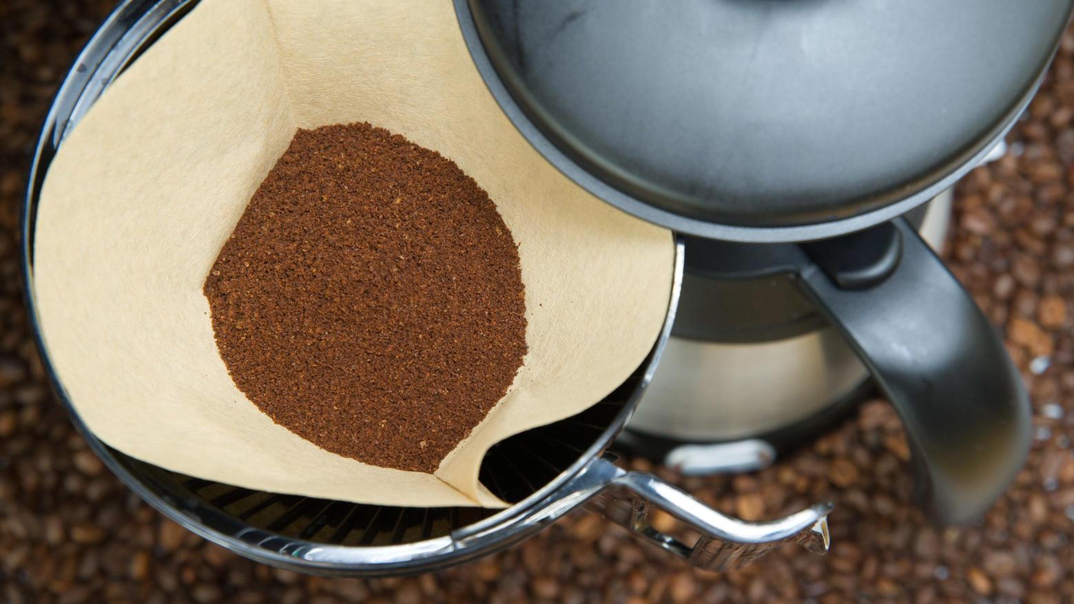 Filter-Kaffeemaschine mit frischem Kaffeepulver