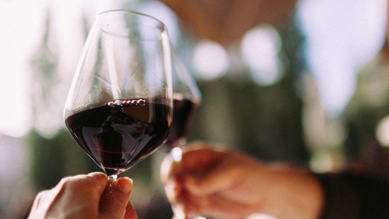 Zwei Menschen stoßen mit Rotwein an