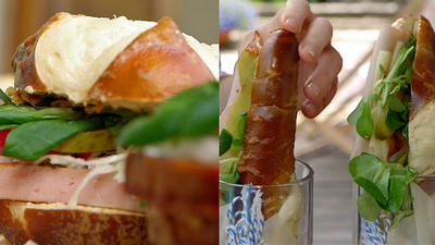 Rezept: Wiesn-Snacks: Leberkäs-Stange und Wiesn-Burger