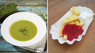 Leckere Gemüsesuppe und gesunde Früchte-Pommes
